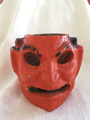 Antique Pulp (Paper Mache) Halloween Devil Head Lantern