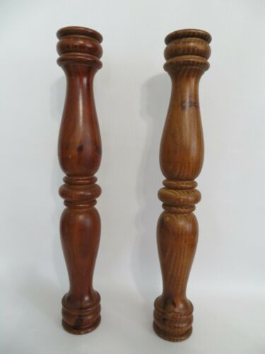 Two 16 inch Turned Wood Post Round Columns , Salvaged Parts