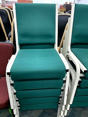 Stacking Metal Frame Chair Green With Ganging Clips