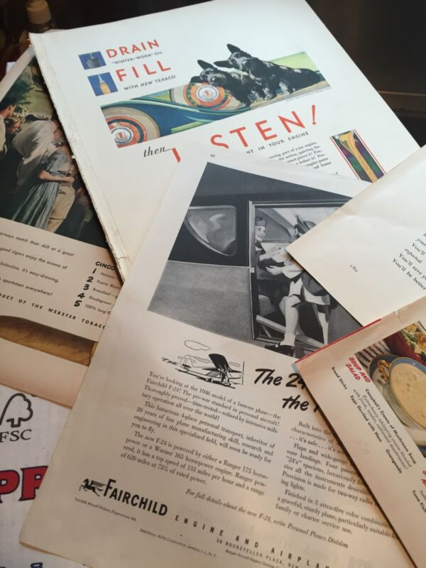 Vintage 350+/- Magazine Ads Oil, Beer, Cars, Clothes, Manufacturing 1930s-50
