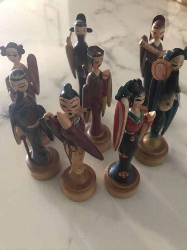 Vintage Japanese Wooden Figurines. Hand Painted!