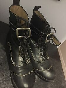 John Fluevog black leather booties 10.5 but fits 9 and up