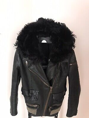Acne Studios Black Leather Biker Jacket SZ 38 Shearling Hood Cropped