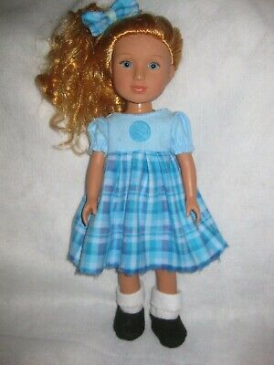 Wellie Wishers/14 inch/solid blue/plaid dress/hair bow/shoes