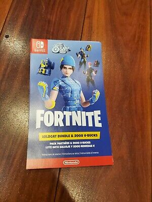 Nintendo Switch Fortnite WildCat Bundle USA CODE card + 2000 vbucks UNSCRATCHED