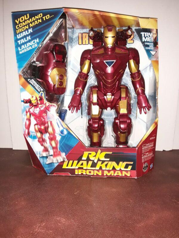 Iron Man 2 RC Walking Iron Man Toy Robot Remote Control Marvel 2010 Hasbro NIB