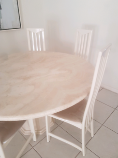Marble Travartine Dining Table and Chairs