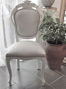 French Louis Style Dining Or Bedroom Chair In Natural Laura Ashley Dawson Fabric