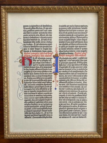 Beautifully Framed Illuminated Manuscript Page EXCELLENT Vintage