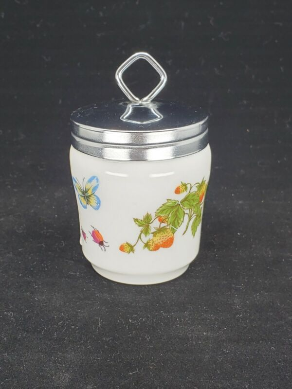 Vintage Lenwile China Egg Coddler with lid Butterfly Garden Strawberry Lady Bug