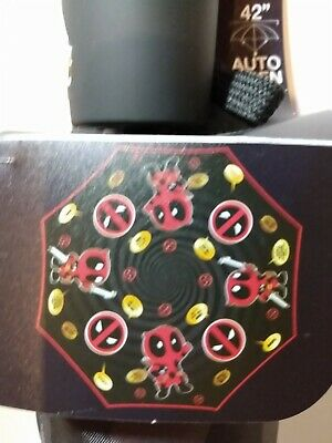 "Marvel, Deadpool, Auto Open, 42"" Umbrella With Carry Bag. NIP."