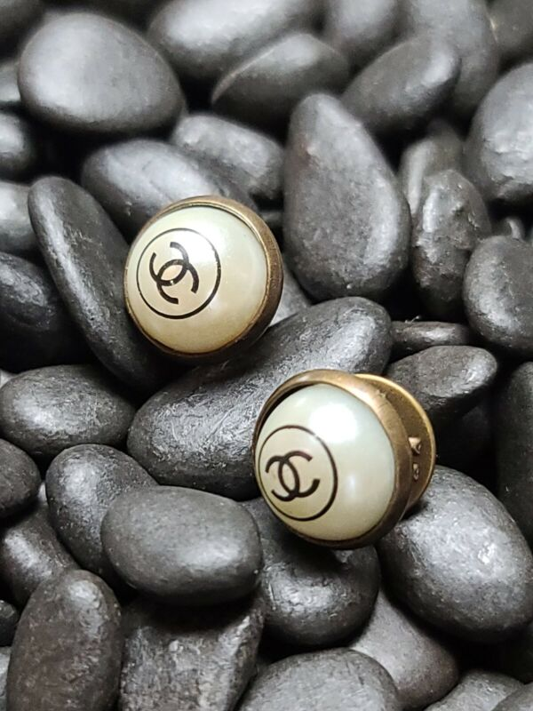 Two Bronze White  Chanel Buttons