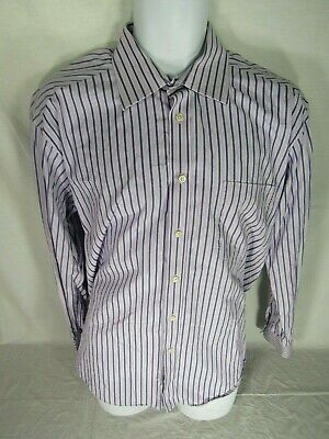 Men's IKE BEHAR Button Front Dress Shirt size 16.5 34/35 Striped