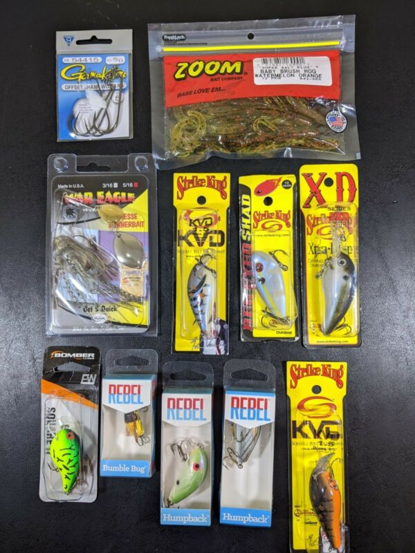 Lot of 11 Fishing Bass Lures Bait New! Rebel Bumble 🐝 KVD Strike King & More 🎣