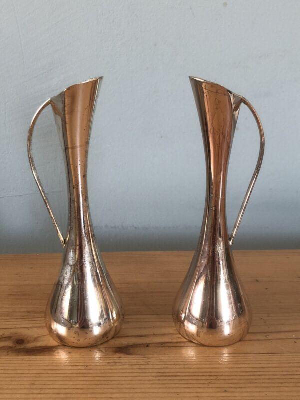 Elegant Vintage Silver Plated Pair Of Jug Bud Vases/by Highlands/collectables