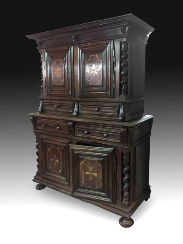 Cabinet or cupboard or two tiered buffet. Walnut. spain, 18th century.