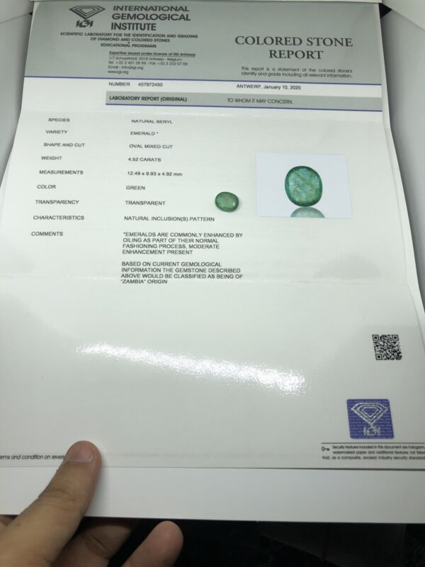 IGI Certified Natural Green Zambia Emerald 4.52 Ct Size 12.49*9.93*4.92 Mm #2450