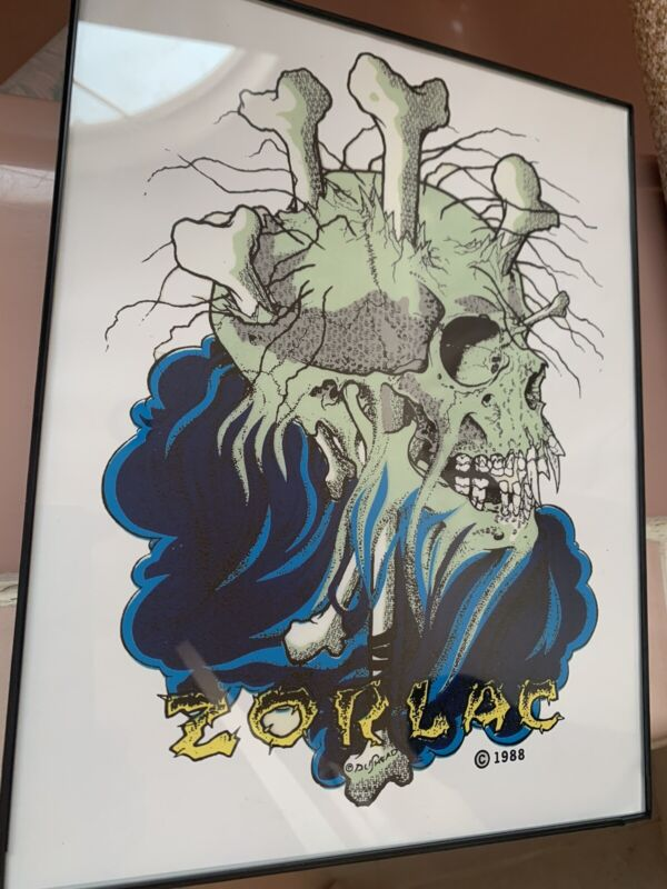 Zorlac Skateboard Floating Skull Framed in 8x11.