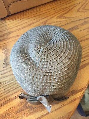 VTG Womens BEIGE Church Dress Derby Hat / Hair Piece. Very Nice !
