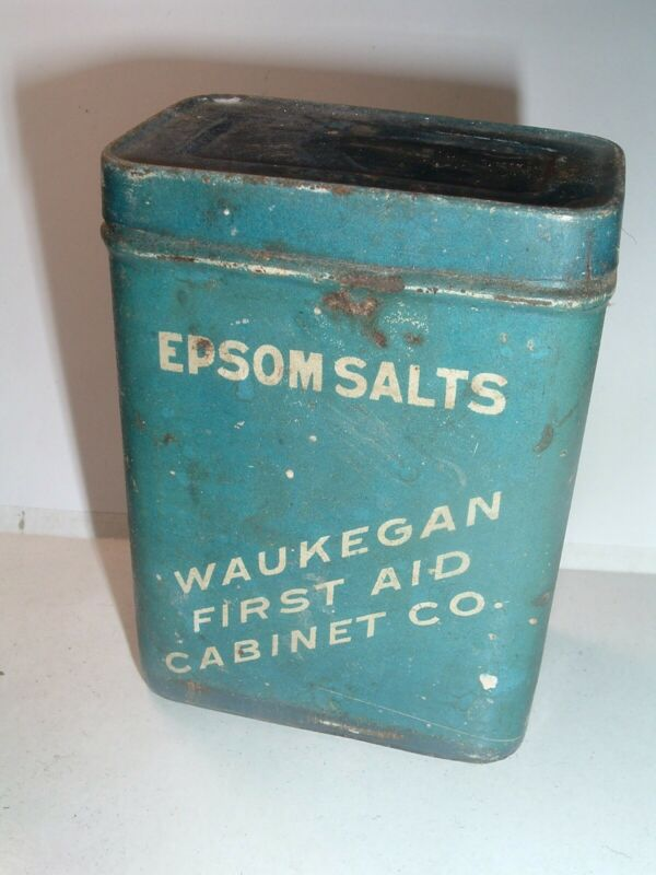Antique Tin Box Waukegan First Aid cabinet Co. Epsom Salts
