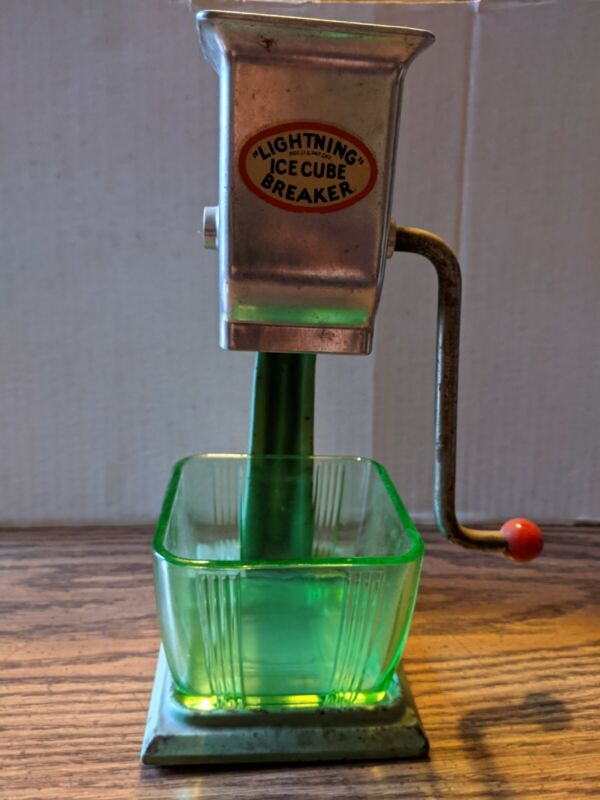 "Vintage ""Lightning"" Ice Cube Breaker No. 104 w/Green Glass Container"