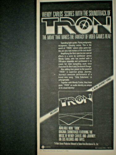 1982 WENDY CARLOS vintage TRON MOVIE SOUNDTRACK Trade print ad