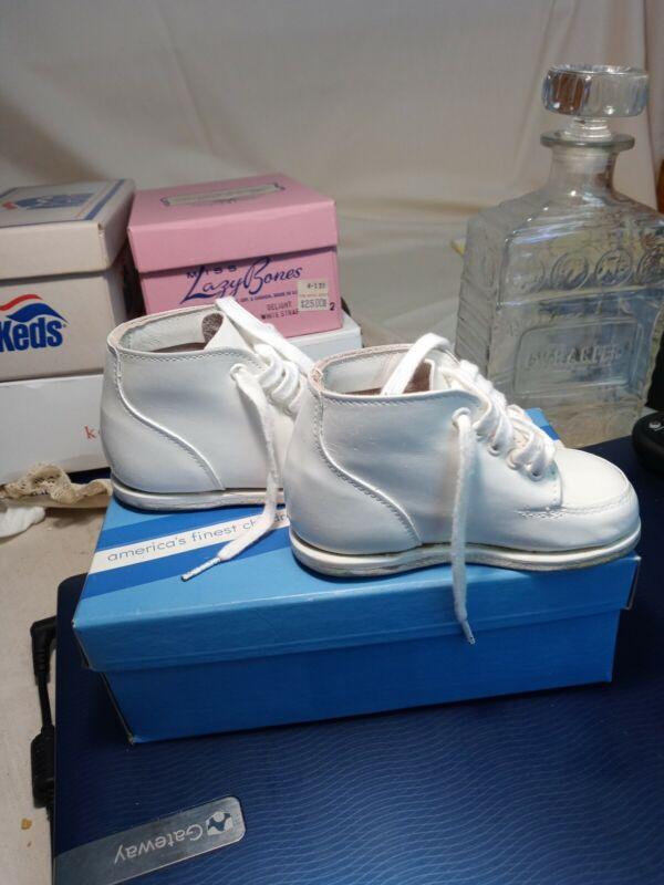 Vtg CHILD LIFE Toddler White Leather Shoes NIB Size 3