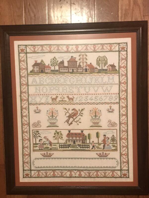 Vintage Sampler Cross Stitch Framed Village Town City House Birds,People,Crowns