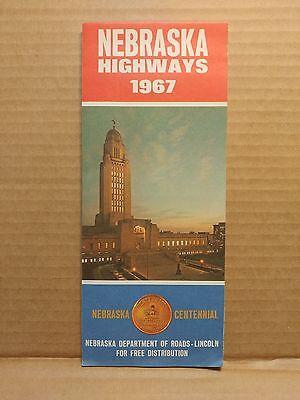 1967 Nebraska Highways Road Map Vintage Travel Centennial Issue