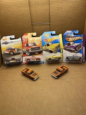 Hot Wheels 83 Chevy Silverado Lot 4 Carded 2 Loose Trucks 50th Anniversary