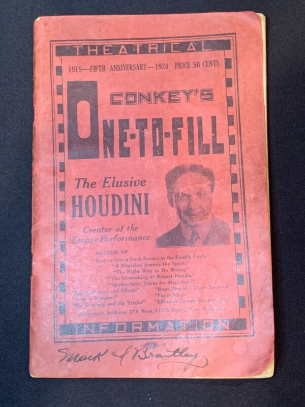 Rare Conkey's One-To-Fill 1924 Vaudeville Theatrical Guide with Houdini Cover Ad