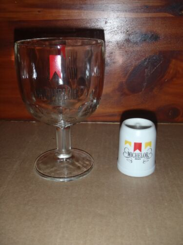 Vintage Michelob Beer Glass Thumb Print Dimple Goblet + Mini Stein
