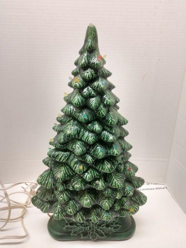 "Vintage Ceramic Slim Trim Mantel Window 17"" Holly Base Christmas Tree"