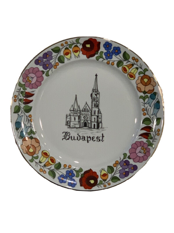 Budapest Hungary Handpainted Travel Souvenir Collectors Plate GIFT Kalogsa VTG