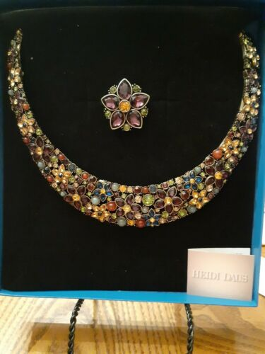 Heidi Daus Fantasy Florals  necklace and pin set