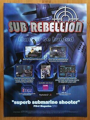 Sub Rebellion PS2 2002 Vintage Print Ad/Poster Official Submarine Warfare Art UK