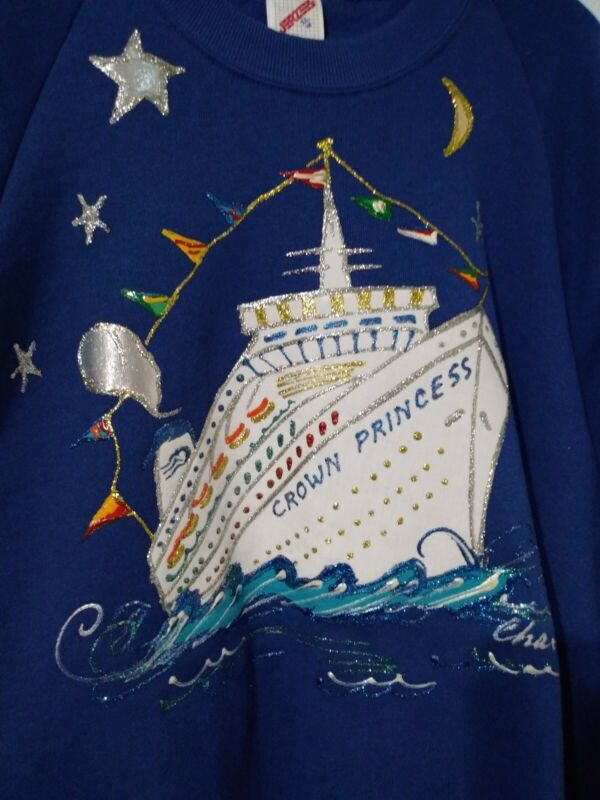 Disney Crown Princess Cruise Ship Line Glitter Sweater Jerzees Brand Size XL