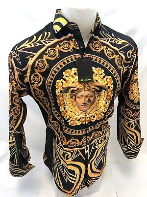 - Mens PREMIERE Long Sleeve Button Down Dress Shirt BLACK GOLD LEAF ABSTRACT 316
