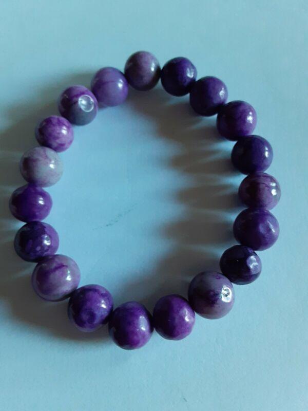 🎁 Beautiful 10mm Man Made Purple Sugilite Round Bracelet.Hand Made.U.S.A.
