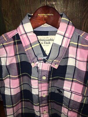 Men's Abercrombie & Fitch Muscle Fit Button down Shirt, Sz L, Pink/navy Plaid