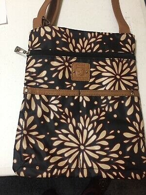 174805bb27c0 Stone Mountain Crossbody Lockport Handbag Purse Black Floral Tan NEW NWT