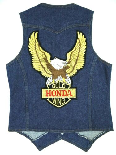 VINTAGE LEVIS DENIM VEST HONDA GOLD WING PATCH ORANGE TAB JEAN MADE USA mens S