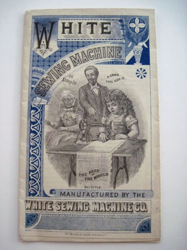 """RARE"" Victorian Advertising Print for ""White Sewing Machine"" w/ Girl Sewing*"