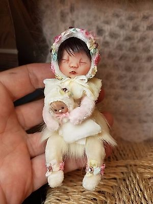 *~OOAK, One Of A Kind Miniature Elfin Girl & Baby *Flora* *By Shell****