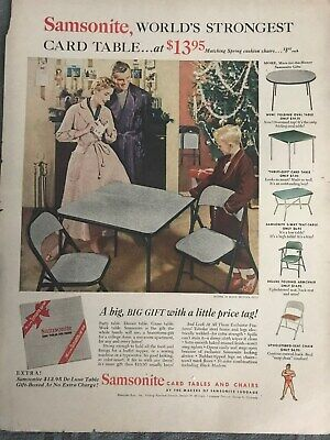 Samsonite Card Tables & Chairs~A Big Gift Little Price~1954 Vintage Print AD A74