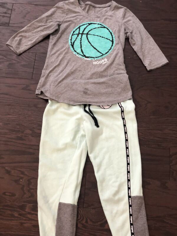 Justice Active Hoops Shirt And Fleece Jogger Set Girls Size 10