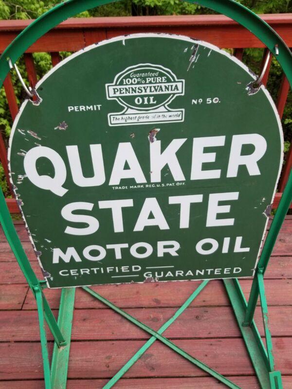 Original Quaker State Motor Oil Tombstone Street Talker Porcelain Sign - vintage