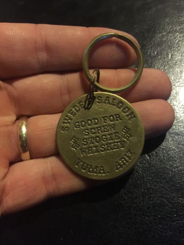 Brothel Token Keychain Solid Metal Random Grab Patina Brass Finish YOU GET ONE