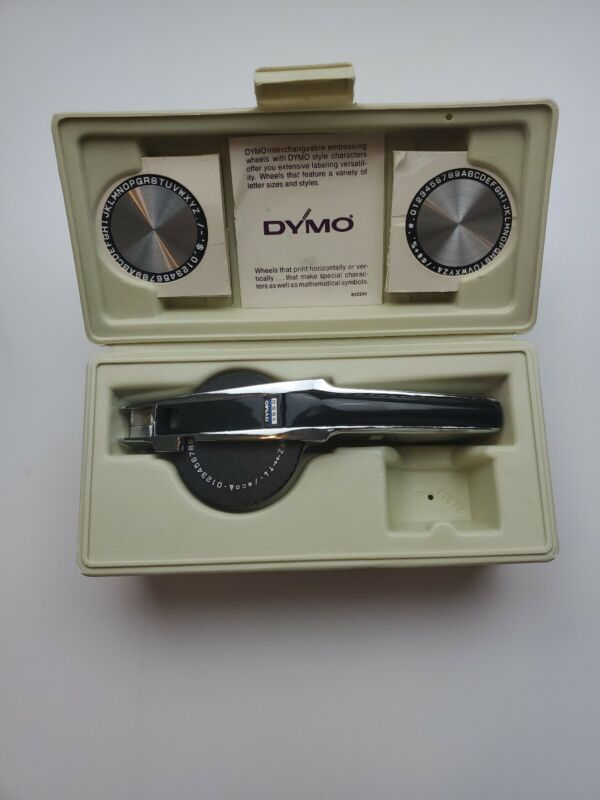 `Tapewriter Kit With Case W/ Extras Vintage DYMO1550 Chrome Label Maker Deluxe `