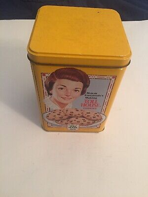 Nestle Toll House Tin Canister W/Recipe & Retro Graphics Vintage